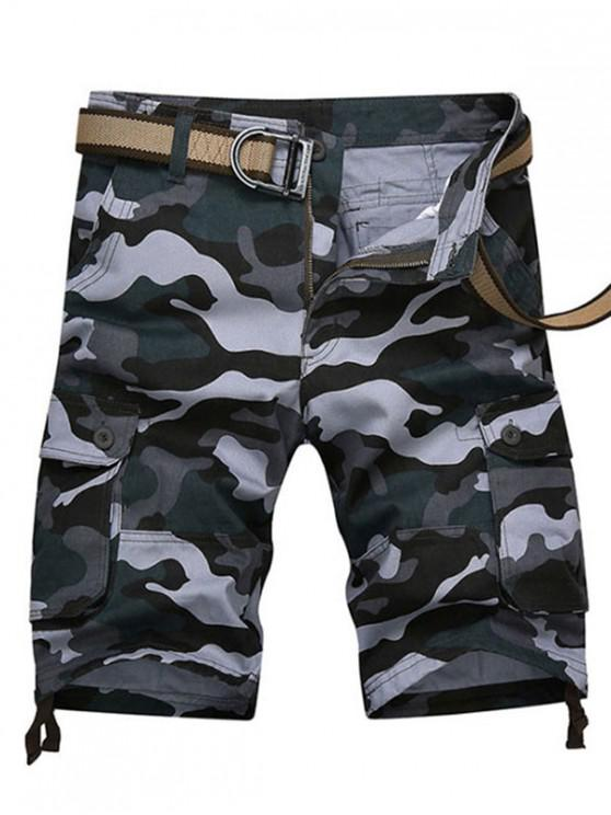 online Camouflage Print Casaul Cargo Shorts - NAVY CAMOUFLAGE 42