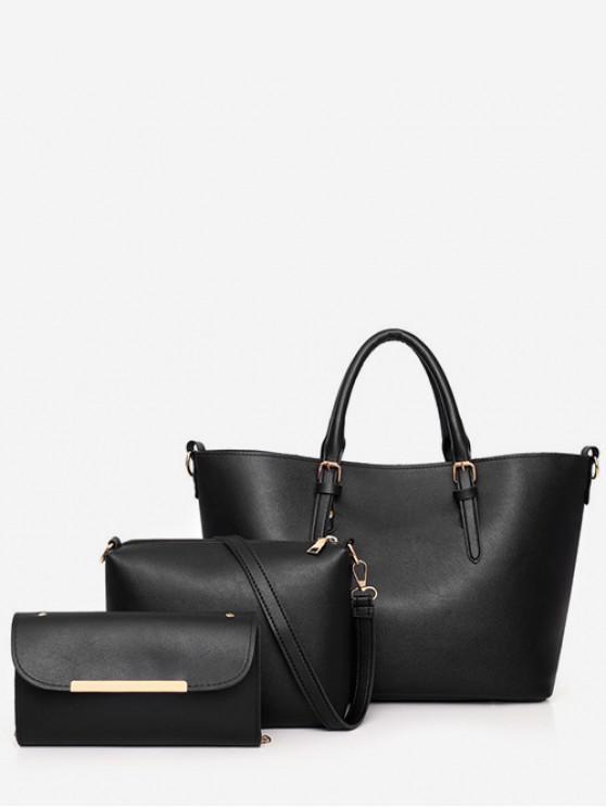 fancy 3Pcs Simple Handbag Set - BLACK