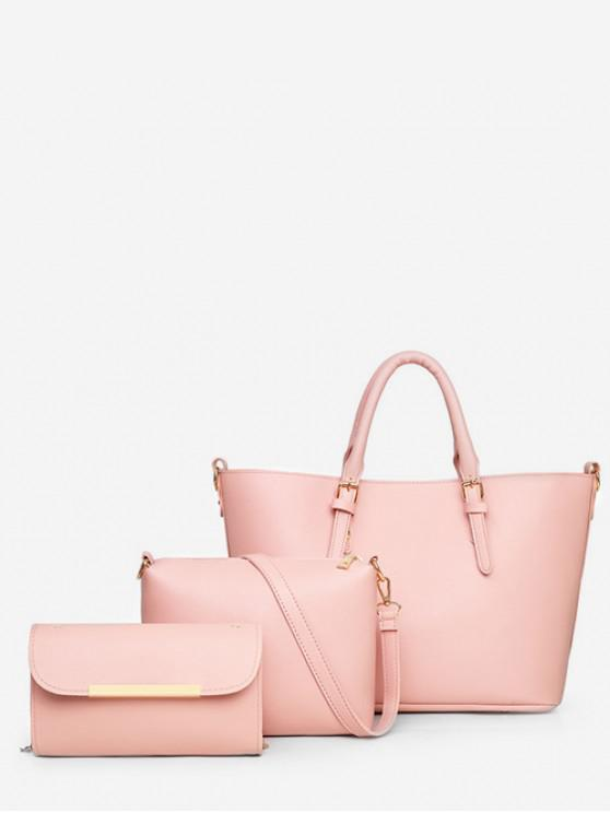 affordable 3Pcs Simple Handbag Set - PINK