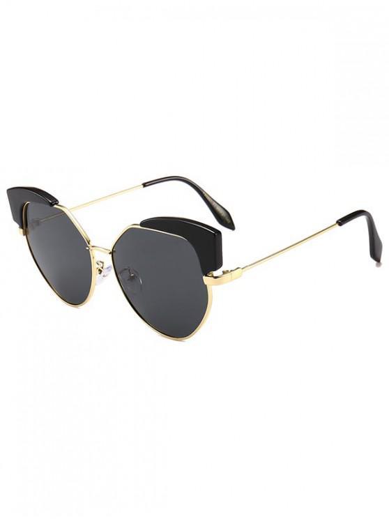 chic Irregular Catty Eye Vintage Sunglasses - BLACK