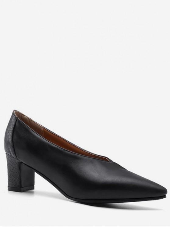 fancy Pointed Toe Mid Heel Patch Pumps - BLACK EU 43