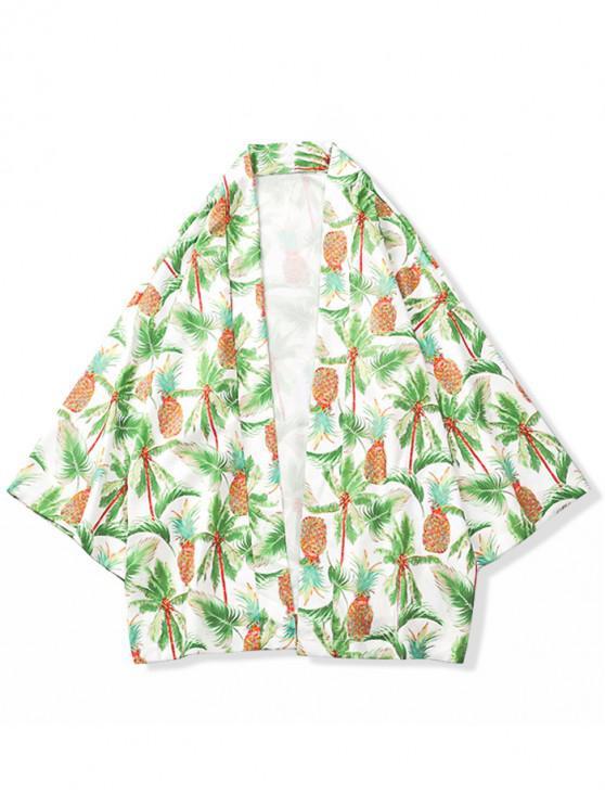 Kimono-Strickjacke mit Ananas-Kokosnuss-Palmen-Aufdruck - Multi S