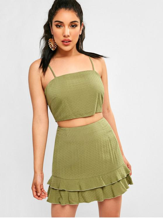 lady Knot Ruffle Two Piece Dress - CAMOUFLAGE GREEN L