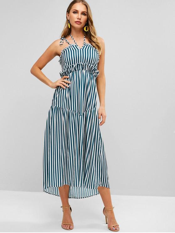 latest Tied Straps Striped Ruffles Maxi Dress - GREENISH BLUE S