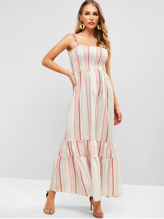 fashion Striped Smocked Maxi Dress - MULTI S