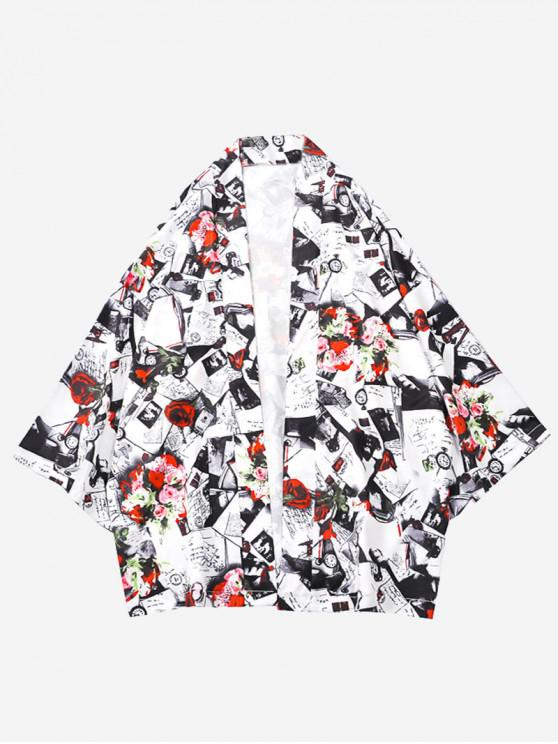 women Flowers Letters Graphic Print Kimono Cardigan - MULTI L