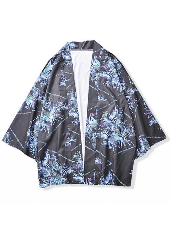 hot Geometric Leaves Painting Print Kimono Cardigan - DARK SLATE BLUE M