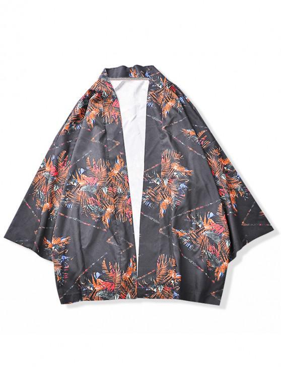 Geometric Leaves Painting Print Kimono Cardigan DARK SLATE BLUE MANGO ORANGE