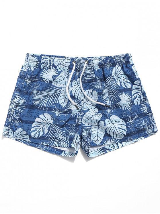 shop Tropical Leaves Print Casual Beach Shorts - OCEAN BLUE XL