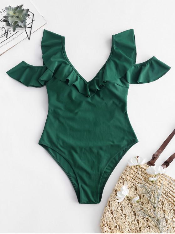 fancy ZAFUL Ruffle Cold Shoulder Backless Swimsuit - MEDIUM SEA GREEN XL