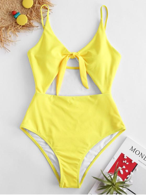 hot ZAFUL Knot Cut Out Swimsuit - MUSTARD XL