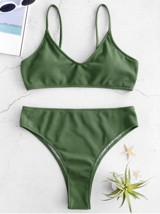 a7263ef94d801 26% OFF] [HOT] 2019 Ribbed High Waisted Bikini In CAMOUFLAGE GREEN ...
