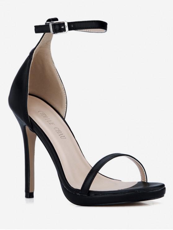 sale PU Leather Super High Heel Sandals - BLACK EU 40