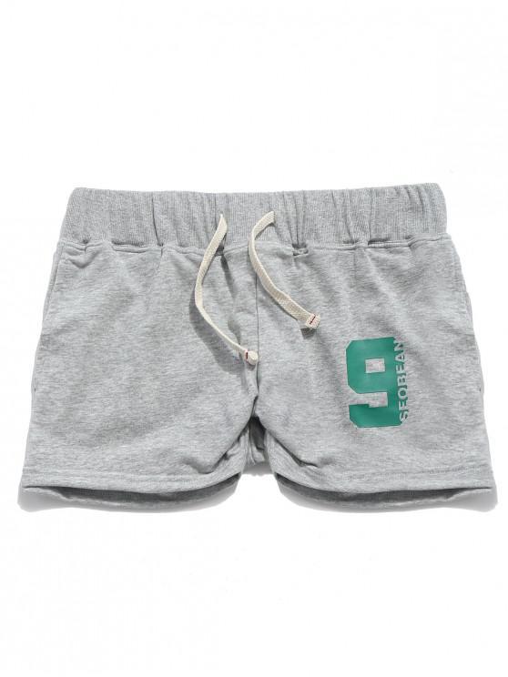 Einfarbig Letters Print Drawstring Casual Shorts - Graue Gans S