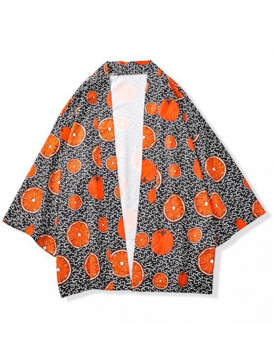 Cárdigan estilo kimono casual con estampado de frutas naranjas - Multicolor 2XL