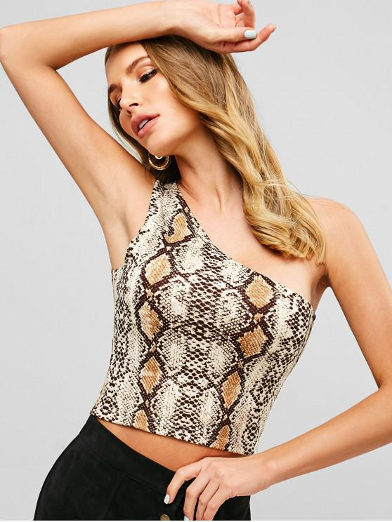 latest ZAFUL Snakeskin Print One Shoulder Crop Tank Top - MULTI M