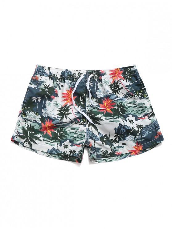 best Coconut Palm Print Casual Beach Shorts - MULTI L