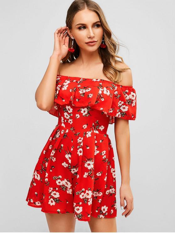 affordable Floral Off Shoulder Flounce Romper - CHESTNUT RED M