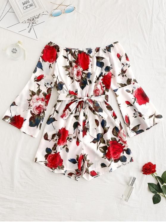 shop Flare Sleeve Flower Belted Romper - WHITE L