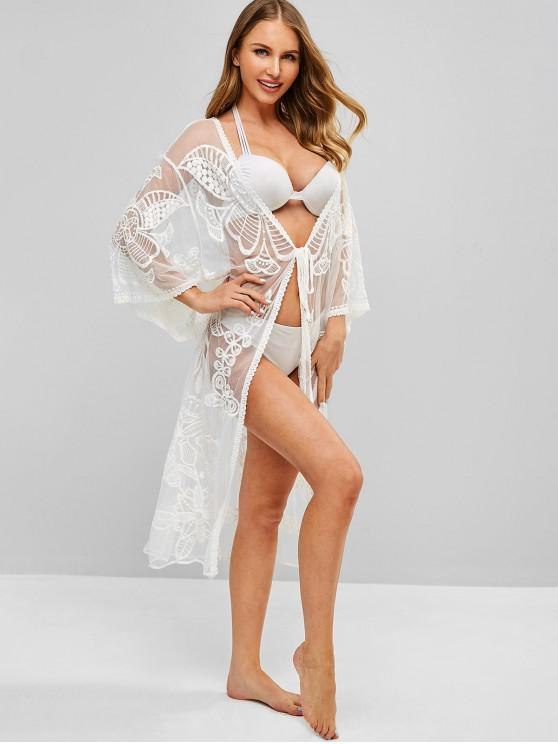 Floral Crochet Tie Front Longline Cover Up - Blanco Talla única