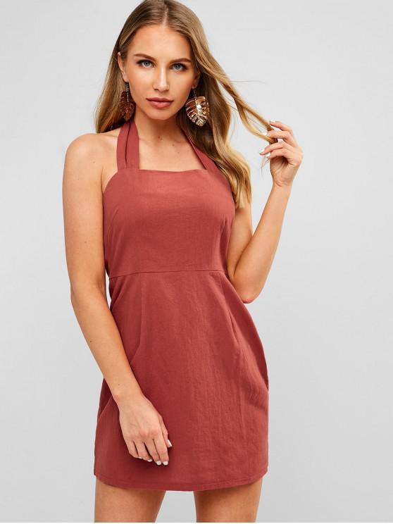 ZAFUL Mini vestido con espalda abierta - Chocolate L