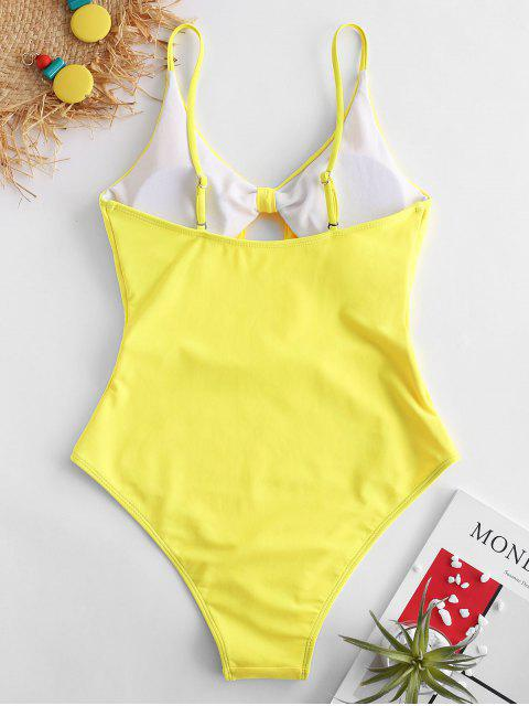 shop ZAFUL Knot Cut Out Swimsuit - MUSTARD L Mobile