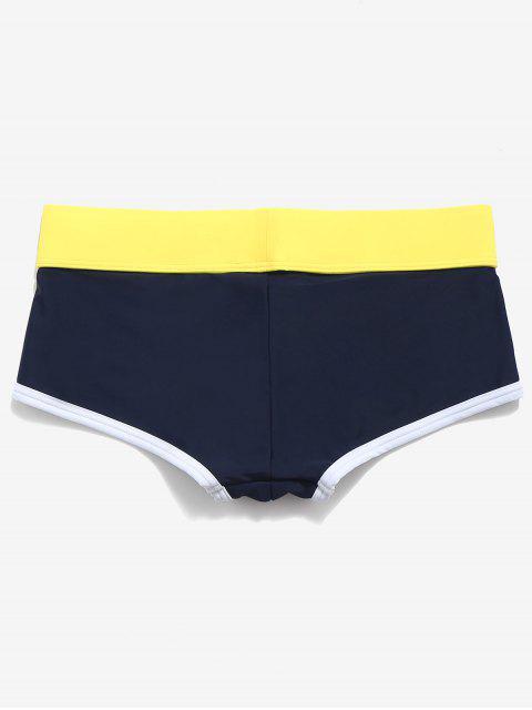 fancy Elastic Color Block Swimming Briefs - MIDNIGHT BLUE S Mobile