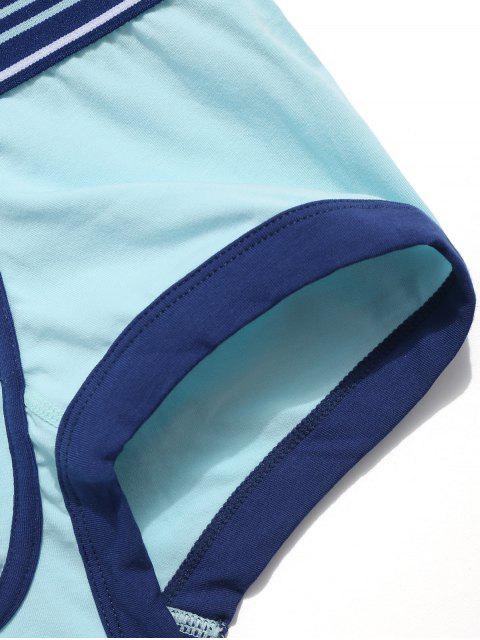 buy Letters Print Panel Swimming Briefs - CORAL BLUE S Mobile