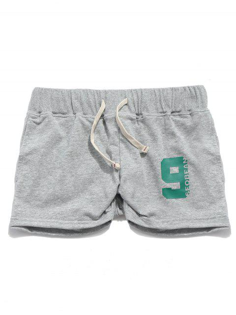 latest Solid Color Letters Print Drawstring Casual Shorts - GRAY GOOSE S Mobile