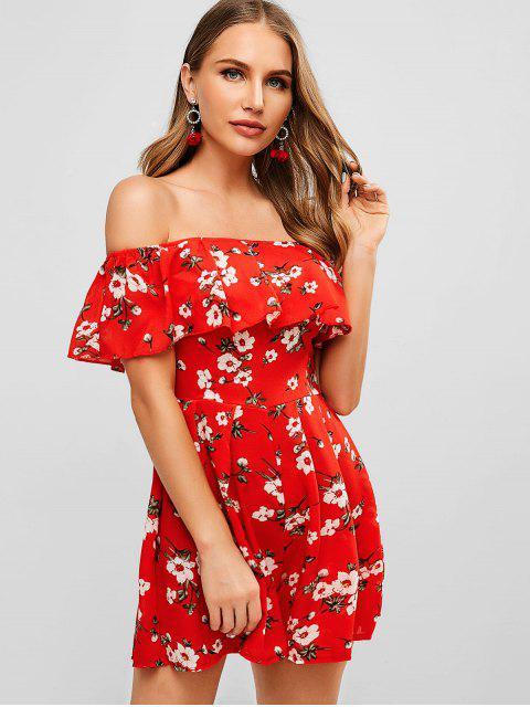 affordable Floral Off Shoulder Flounce Romper - CHESTNUT RED S Mobile