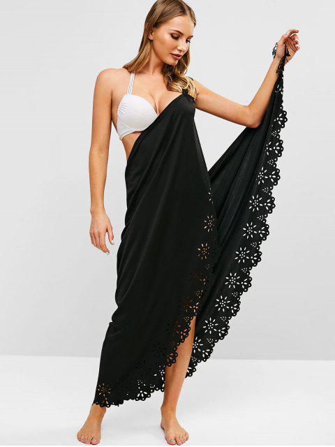 hot Laser Cut Fringed Wrap Dress - BLACK ONE SIZE Mobile