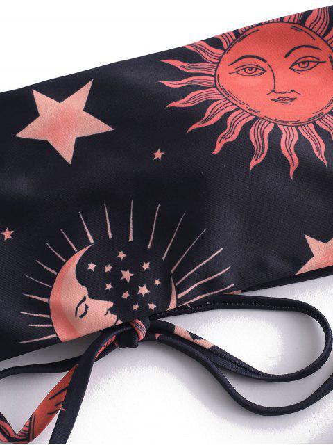 women ZAFUL Lace Up Sun and Moon Bikini Set - MULTI-A S Mobile