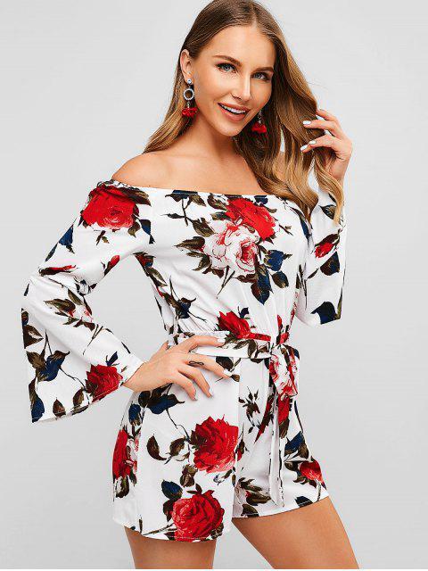 buy Flare Sleeve Flower Belted Romper - WHITE M Mobile