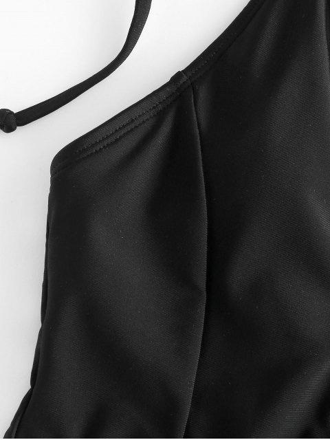 new ZAFUL Tie Shoulder Backless Swimsuit - BLACK S Mobile