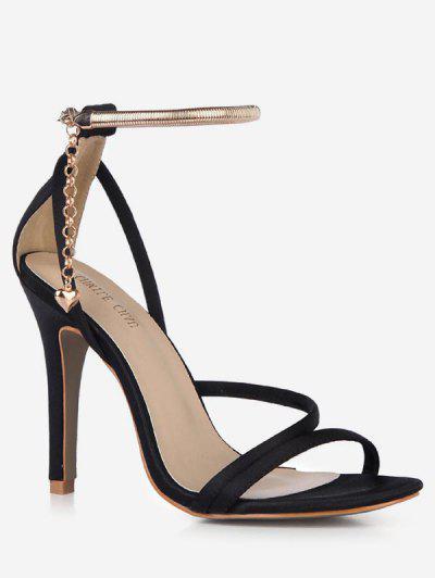 9899c67154f22 Chain Design Cut High Heel Sandals - Black Eu 39