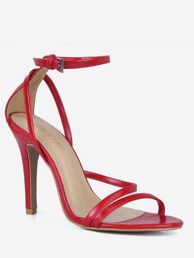 1d23f7d33314 PU Leather Cut Stiletto Heel Sandals - Red Eu 37 ...