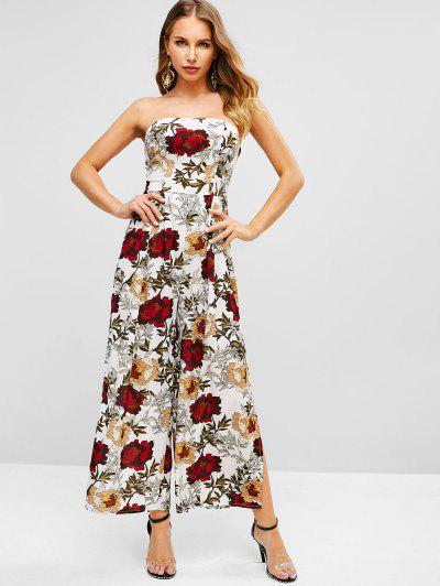 ca649482703 Floral Slit Wide Leg Strapless Jumpsuit - White Xl