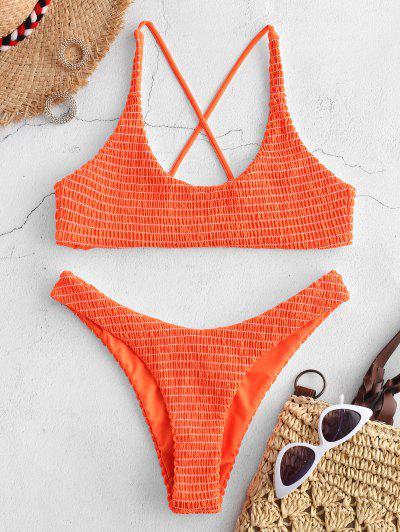 ZAFUL Kreuzes Und Queres Kittel- Bikini -Set - Orange M