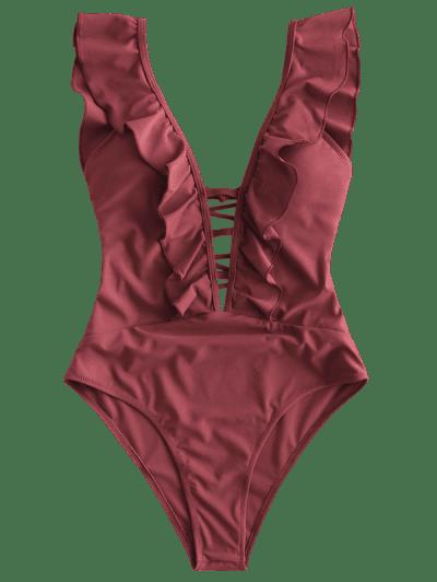 ZAFUL Lattice Criss Cross Ruffle Swimsuit, Chestnut