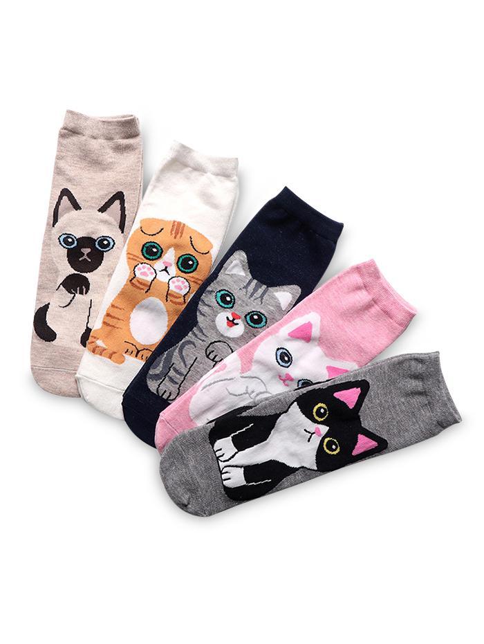 5Pairs Cat Pattern Quarter Length Socks Set