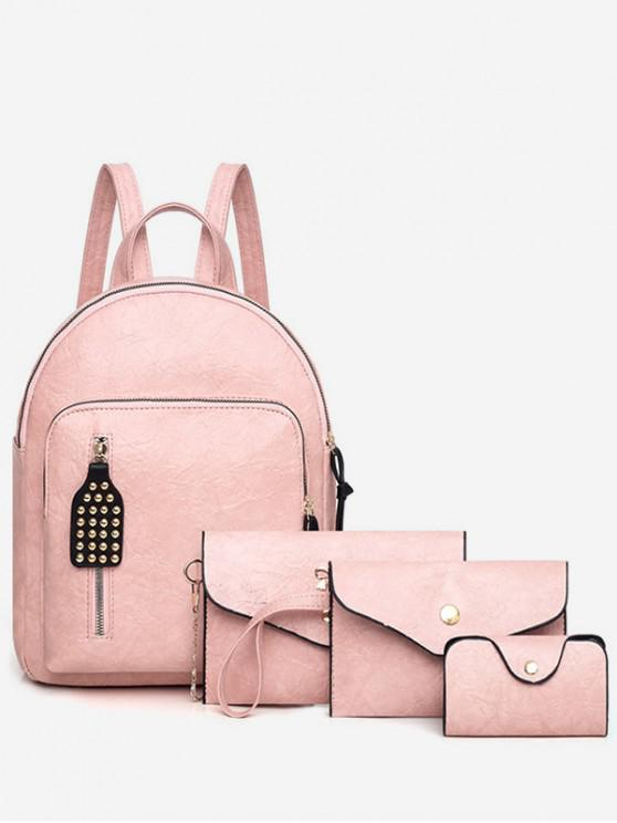 trendy 4Pcs Leather Backpack Set - PINK