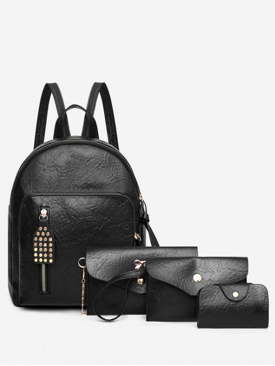 fashion 4Pcs Leather Backpack Set - BLACK