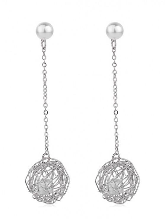 outfits Faux Pearl Hollow Out Nest Drop Earrings - SILVER