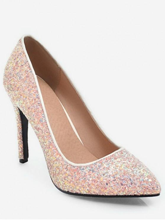 6d763cff0f24 41% OFF] 2019 Glitter Pointed Toe Pumps In LIGHT PINK | ZAFUL Europe