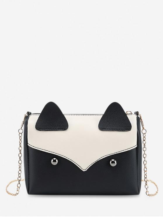 lady Cute Shape Fox Mini Crossbody Bag - BLACK