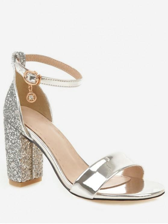 shop Shiny Chunky Heel Sandals - SILVER EU 37