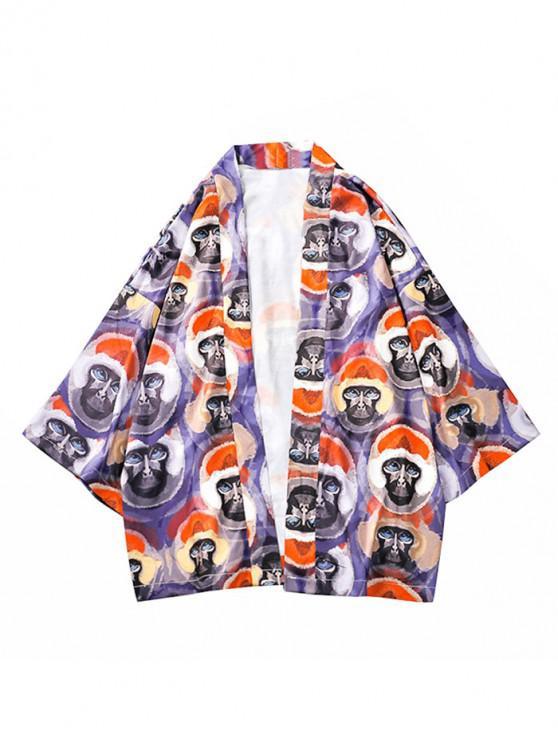 Allover Animal Head bedruckte Kimono-Cardigan - Multi L