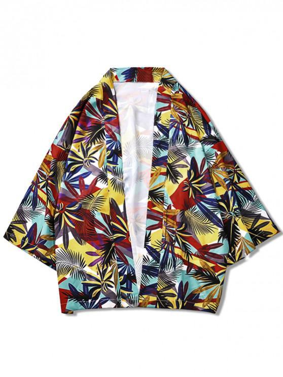 Pflanzenblätter Print Lässige Kimono-Cardigan - Multi M