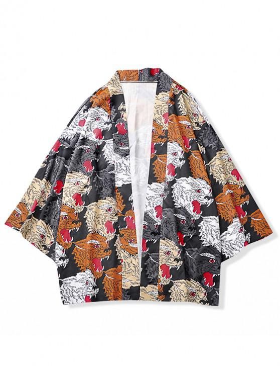 ladies Animal Head Print Kimono Cardigan - SUNRISE ORANGE S