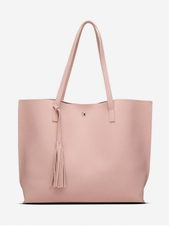 shop Tassel Decoration Shoulder Bag - LIGHT PINK
